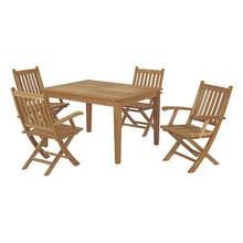 Marina 5 Piece Outdoor Patio Teak Outdoor Dining Set, Wood, Natural 14279
