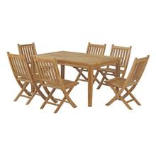 Marina 7 Piece Outdoor Patio Teak Outdoor Dining Set, Wood, Natural 14280