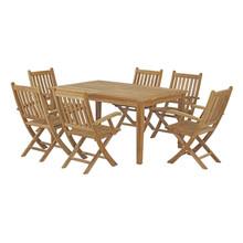 Marina 7 Piece Outdoor Patio Teak Outdoor Dining Set, Wood, Natural 14281