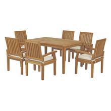 Marina 7 Piece Outdoor Patio Teak Outdoor Dining Set, Wood, White Natural 14282