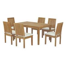 Marina 7 Piece Outdoor Patio Teak Outdoor Dining Set, Wood, White Natural 14283