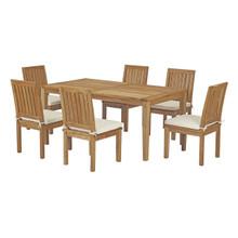 Marina 7 Piece Outdoor Patio Teak Outdoor Dining Set, Wood, White Natural 14284