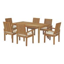 Marina 7 Piece Outdoor Patio Teak Outdoor Dining Set, Wood, White Natural 14285