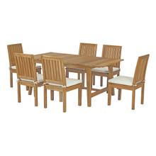 Marina 7 Piece Outdoor Patio Teak Outdoor Dining Set, Wood, White Natural 14286