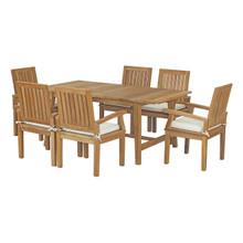 Marina 7 Piece Outdoor Patio Teak Outdoor Dining Set, Wood, White Natural 14287