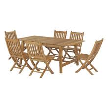 Marina 7 Piece Outdoor Patio Teak Outdoor Dining Set, Wood, Natural 14288