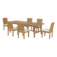 Marina 7 Piece Outdoor Patio Teak Outdoor Dining Set, Wood, White Natural 14290