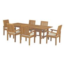 Marina 7 Piece Outdoor Patio Teak Outdoor Dining Set, Wood, White Natural 14291