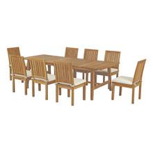 Marina 9 Piece Outdoor Patio Teak Outdoor Dining Set, Wood, White Natural 14294