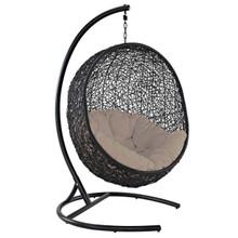 Encase Swing Outdoor Patio Lounge Chair, Rattan Wicker, Beige 14331