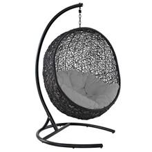 Encase Swing Outdoor Patio Lounge Chair, Rattan Wicker, Grey Gray 14332