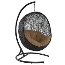 Encase Swing Outdoor Patio Lounge Chair, Rattan Wicker, Brown 14333
