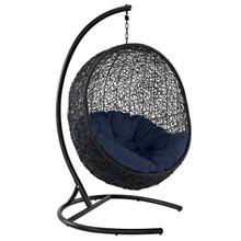 Encase Swing Outdoor Patio Lounge Chair, Rattan Wicker, Navy Blue 14334