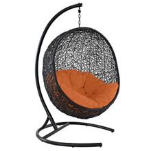 Encase Swing Outdoor Patio Lounge Chair, Rattan Wicker, Orange 14335
