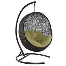 Encase Swing Outdoor Patio Lounge Chair, Rattan Wicker, Green 14336