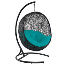 Encase Swing Outdoor Patio Lounge Chair, Rattan Wicker, Blue 14338