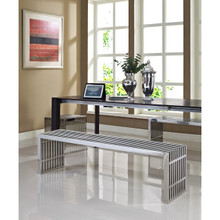 Gridiron Benches Set of 3, Metal Steel Stainless Steel, Silver 14339