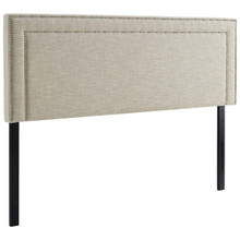 Jessamine King Upholstered Fabric Headboard, King Size, Fabric, Beige, 14347