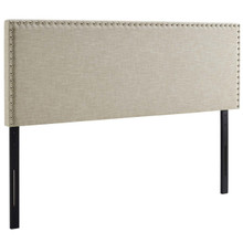 Phoebe King Upholstered Fabric Headboard, King Size, Fabric Nail Rivet, Beige, 14351