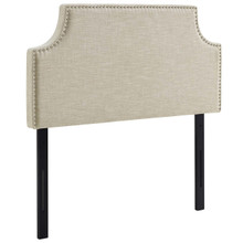 Laura Twin Upholstered Fabric Headboard, Twin Size, Fabric Nail Rivet, Beige, 14352