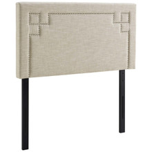 Josie Twin Upholstered Fabric Headboard, Twin Size, Fabric Nail Rivet, Beige, 14356