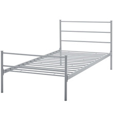 Alina Twin Platform Bed Frame, Twin Size, Metal Steel, Grey Gray, 14434