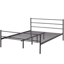 Alina Queen Platform Bed Frame, Queen Size, Metal Steel, Brown, 14439