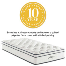 "Jenna 10"" Twin Innerspring Mattress, Full Size, Fabric, White, 14450"