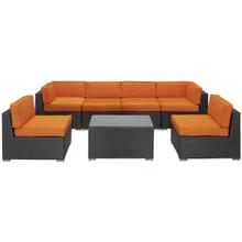 Aero 7 Piece Sectional Set in Espresso Orange