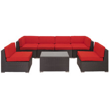 Aero 7 Piece Sectional Set in Espresso Red