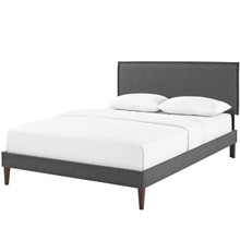 Amaris King Fabric Platform Bed with Squared Tapered Legs, King Size, Fabric, Grey Gray, 14521