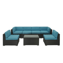Aero 7 Piece Sectional Set in Espresso Turquoise