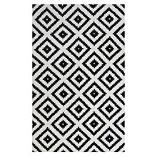 Alika Abstract Diamond Trellis 8x10 Area Rug, Fabric, Multi White Black 14745