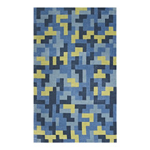 Andela Interlocking Block Mosaic 5x8 Area Rug, Fabric, Multi Navy Blue 14782