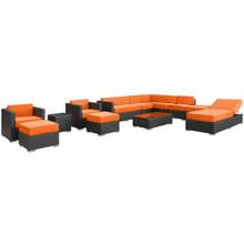 Fusion 12 Piece Sectional Set in Espresso Orange