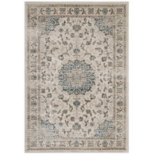 Atara Distressed Vintage Persian Medallion 5x8 Area Rug, Fabric,  Multi Beige 14843