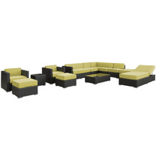 Fusion 12 Piece Sectional Set in Espresso Peridot