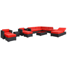 Fusion 12 Piece Sectional Set in Espresso Red