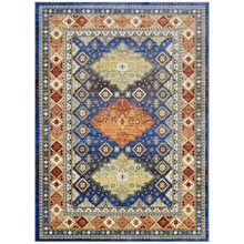 Atzi  Distressed  Southwestern Diamond Floral 8x10 Area Rug, Fabric, Multi Colorful 14867