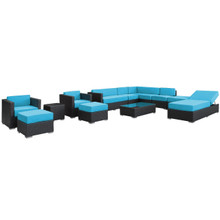 Fusion 12 Piece Sectional Set in Espresso Turquoise