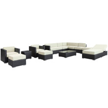 Fusion 12 Piece Sectional Set in Espresso White