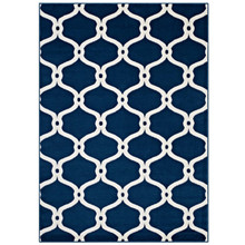 Beltara Chain Link Transitional Trellis 5x8 Area Rug, Fabric, Multi Navy Blue 14895