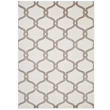 Beltara Chain Link Transitional Trellis 5x8 Area Rug, Fabric, Multi Ivory White 14897