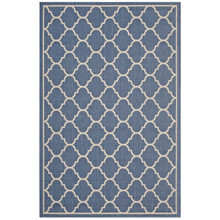 Avena Moroccan Quatrefoil Trellis 5x8 Indoor and Outdoor Area Rug, Fabric, Multi Blue 14921