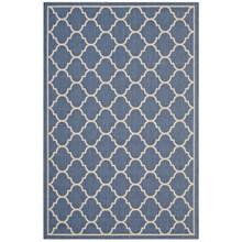Avena Moroccan Quatrefoil Trellis 8x10 Indoor and Outdoor Area Rug, Fabric, Multi Blue 14922