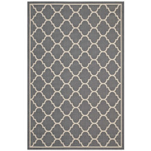 Avena Moroccan Quatrefoil Trellis 5x8 Indoor and Outdoor Area Rug, Fabric, Grey Gray 14923