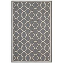 Avena Moroccan Quatrefoil Trellis 8x10 Indoor and Outdoor Area Rug, Fabric, Grey Gray 14924