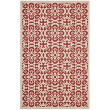 Ariana Vintage Floral Trellis 5x8 Indoor and Outdoor Area Rug, Fabric, Multi Red 14957