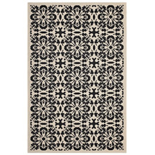 Ariana Vintage Floral Trellis 5x8 Indoor and Outdoor Area Rug, Fabric, Multi Black 14959