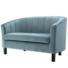 Prospect Channel Tufted Upholstered Velvet Loveseat, Velvet Fabric, Light Blue 15051